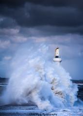 Aberdeen Harbour Breakwater (ben.leng) Tags: scotland aberdeen storm wave blue lighthouse marker seascape sky sea burst landscape portrait northsea