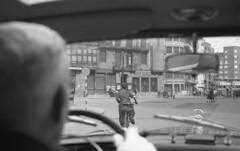 A Spanish street from the Merc (Arne Kuilman) Tags: lostandfound zimmermans photos photonotmine scan v600 epson holiday found gevonden leica negatives bancoguipuzcoano doubledecker bus city driving mercedes