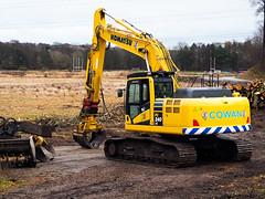 New Beginning. (HivizPhotography) Tags: komatsu pc240lc cowan plant construction grab flail trees yellow digger tracked excavator aberdeen scotland hire earthmoving uk