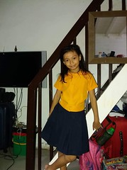morning portrait in school uniform (ghostgirl_Annver) Tags: asia asian annver girl teen preteen child kid daughter sister family portrait schooluniform school uniform yellow blue