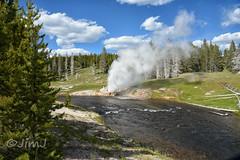 Yellowstone's Riverside (Jim Johnston (OKC)) Tags: riversidegeyser fireholeriver uppergeyserbasin yellowstonepark clouds evergreens wyoming