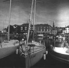 Isola city harbour (lumpy79) Tags: arax60 czj flektogon 450 ilford pan f plus 50 f11 1125 isola city harbour slovenia blackandwhite bw