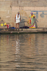 0957 Varanasi Ghats II (Hrvoje Simich - gaZZda) Tags: outdoors people water man woman reflections religion varanasi india indian travel asia nikon nikond750 nikkor283003556 gazzda hrvojesimich ganges