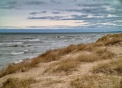 Evening Breeze (mswan777) Tags: beach grass dune sand seascape evening horizon sky cloud water waves outside outdoor nature scenic quiet st joseph michigan apple iphone iphoneography mobile blue