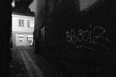 Night in Tübingen (manfredkober) Tags: tübingen nacht kopfsteinpflaster graffiti sw bw