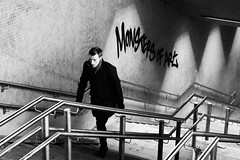 (evelKeneevel) Tags: blackandwhite stairs graffiti man