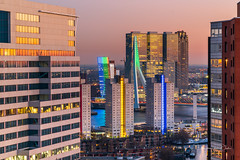 In Between (Ellen van den Doel) Tags: night februari netherlands sunset hour avond center outdoor evening light rotterdam blue fotografie wtc lucht nederland 2019 photography world sky trade zonsondergang skyline stad city zuidholland nl