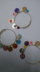 Bracelets children craft work nice set.charms hand painted and gloss (dollsbearsplants) Tags: childrensbraceletgold makeityourselfkit painted charms decoratedbracelets multicolours tiny pictures