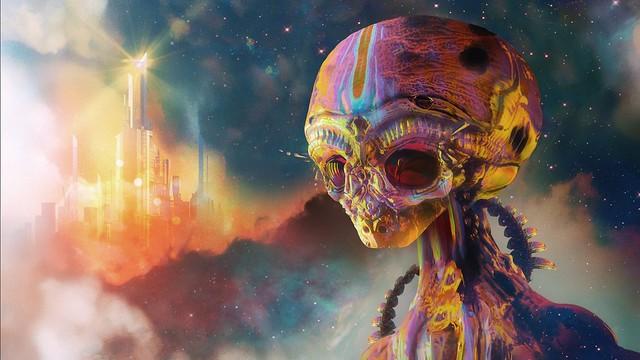 Обои инопланетянин, пришелец, арт, разноцветный картинки на рабочий стол, фото скачать бесплатно
