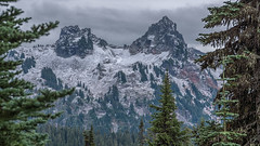 Sirens (writing with light 2422 (Not Pro)) Tags: pinnaclepeak thecastle tatooshmountainrange mountrainiernationalpark mrnp washingtonstate mountains peaks snow fog trees firtrees clouds sky landscape pnw a7riii pacificnorthwest sonya7 richborder rich border
