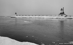 St. Joseph Lights (mswan777) Tags: michigan stjoseph mobile iphone iphoneography apple ansel white black monochrome sky frozen seascape winter cold fog cloud flow water river ice lighthouse pier