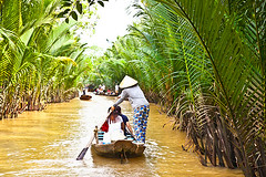 A famous tourist destination is  Ben Tre village in Mekong delta , Vietnam. Mekong Delta is home of (Photo by Travel Sense Asia Co., Ltd) Tags: asia beautiful ben boat calm cannal coast coastline colorful conic delta east environment fisherman fishing harbor hat indochina lush man market mekong nature ocean old palm people protected pumpkin rang river scenic sea ship south tho tourists tre tropical vietnam vietnamese village water whoweare
