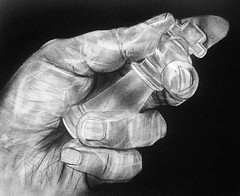 AT ALL COST (Sketchbook0918) Tags: charcoal graphite drawing paper art fineart hand holding fingers chess piece king chesskingpiece game sport realism figurative portrait selfportrait vanity