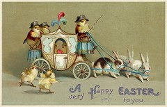 A Very Happy Easter to You (Alan Mays) Tags: ephemera postcards greetingcards greetings cards eastercards paper printed easter holidays rabbits bunnies chickens chicks birds poultry animals carriages anthropomorphic anthropomorphism illustrations humor humorous funny comic yellow purple blue antique old vintage typefaces type typography fonts internationalartpublishingco postcardpublishers seriesno2000 postcardseries