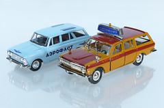 Moskvitch and Volga Aeroflot Cars (adrianz toyz) Tags: diecast toy model car ussr cccp russia russian 143 scale estate kombi lada aeroflot airport adrianztoyz volga airside