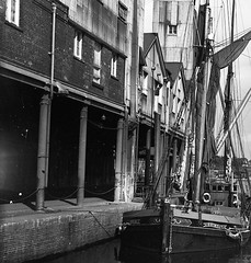 Two halves of a glass plate slide of Ipswich Dock's c1960's Photo's by Alf Jefferies (Photos by Alf Jefferies) Tags: orinoco barge ipswich docks c1960s mydadsoldphotos photos by alf jefferies