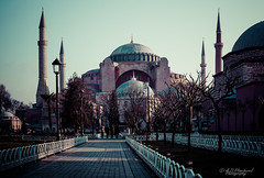 Majestic (Through_Urizen) Tags: architecture category external hdr hagiasophia istanbul places sultanahmet turkey canon canon70d canon1585mm travelphotography architecturephotography dome mosque path trees sky morning minarets placeofworship