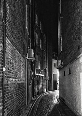 Bird in Hand Yard (marc.barrot) Tags: nightphotography bw urbanlandscape monochrome uk nw3 london hampstead highstreet birdinhandyard shotoniphone
