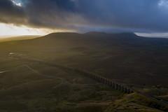 Ribblehead_08 (julesh1966@googlemail.com) Tags: ribbleheadviaduct northyorkshire yorkshiredales sunrise clouds railway landscape grassland ingleborough colour autumn ariel drone
