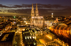 aerial cathedral night (Rick Neves) Tags: rhine europe germany reflexo