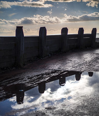 Double edge (Through Bri`s Lens) Tags: groyne reflections niftyfifty puddle brianspicer canon5dmk3 canon50mmf18