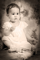Sepia Baby (ClintHeeeerod) Tags: baby child infant 1rst sepia bw art aged lr lightroom nikon 85mm portrait kid girl