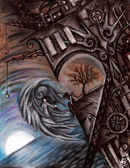Lost + Found (Skyler Brown Art) Tags: angel architecture art artwork charcoal coloredpencil dark drawing entertainment gothic heart industrial ink nature ocean paper pen plants steampunk sunrise sunset surreal technology tree trees water