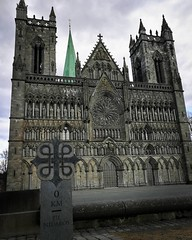 Nidaros Cathedral - Trondheim, Norway.  Builded between ca; 1070 to 1320, rebuilt after fires in 1328, 1432, 1451, 1531. The whole cathedral burnt down in 1708 and the last fire reported was in 1719.   The legends say that Saint Olav has a place in the cr (ImSoFreddy) Tags: church goseehistory historical cathedral norway history sharehistory architecture building antique old gothic
