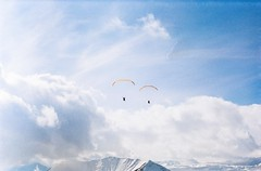 Straight to the sun (Tamar Burduli) Tags: tamarburduli 35mm nature landscape film analog sky skyscape clouds cloudporn paragliding paraglide sun winter snow mountains mountainscape gudauri georgia travel zenit kodak fly flying sport extremesport