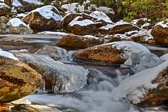 Section of Flat Laurel Creek (esywlkr) Tags: water ice snow rock flatlaurelcreek pisgah nationalforest haywoodcounty nc northcarolina