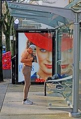 Playing with his Nipple (HereInVancouver) Tags: streetphotography candid man nipples shirtless hat ad busstop bench city urban vancouver bc canada canong9x photograph ngc
