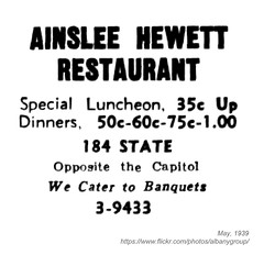 1939 ainslee hewitt restaurant (albany group archive) Tags: albany ny history 1939 ainslee hewitt restaurant state street old vintage photos picture photo photograph historic historical 1930s 184