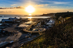 Dover Harbour Sunset (BeerAndLoathing) Tags: 2018 december englandtrip england sunset uktrip cliffs whitecliffs canon kent sea sun dovercastle 77d trip winter harbour winter2018 uk dover englishchannel canoneos77d sigma18300mm