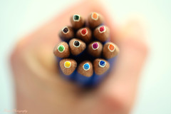 Like pencils... (Maria Godfrida) Tags: crazytuesday fromabove closeup macro topview pencils colours hand holding blurred objects