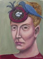 Acrylic painting (Woods Whisperer) Tags: art painting artist portrait fineart visualart bird birdsnest eggs woman fascinator hat
