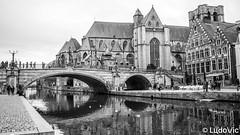 Pont Saint-Michel (Lцdо\/іс) Tags: gent ghent gand belgique belgium belgie noiretblanc noir blackandwhite black blanc pont reflection reflexion reflet europe europa explore city citytrip beauty flamande flandre vlanderen vlaams saint michel lцdоіс