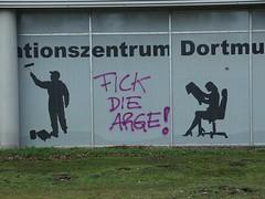Screw them! (mkorsakov) Tags: dortmund nordstadt hafen graffiti tagging parole slogan anti fword fck schaufenster shopwindow arge arbeitsamt piktogramm pictogram