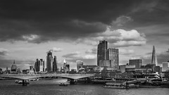 The Thames (Leanne Boulton) Tags: city skyscraper skyline sky water building monochrome overcast urban urbanlandscape landscape river riverthames stpaulscathedral theshard cathedral tower block boat dock bridge architecture clouds cloudy weather dramatic drama metropolitan scene scenic view southbank tone texture detail depth naturallight outdoor light shade humanity society canon canon5dmkiii black white blackwhite bw mono blackandwhite london england uk