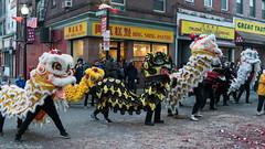 The dragon synchronized dance. (kuntheaprum) Tags: chinatownboston chinesenewyearcelebration yearofthepig sony a7riii tamron 2470mm f28 festival parade dragon firework