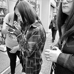 harajuku, japan (michaelalvis) Tags: asia bw blackandwhite candid city citylife cellphones fujifilm harajuku japan japanese japon monochrome nihon nippon peoplestreet portrait people peoplestreets streetphotography streetlife street travel tokyo urban women x70