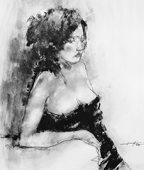P1018681 - Copy (Gasheh) Tags: art painting drawing sketch portrait woman figure line pen charcoal gasheh 2018