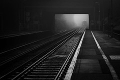 Emerging (V Photography and Art) Tags: fog mist train tunnel london monochrome blackandwhite contrast lines traintrack