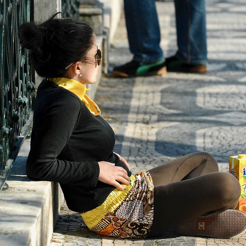 Girl enjoying the Lisbon sun