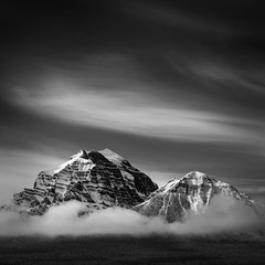 Mount Temple (Mabry Campbell) Tags: alberta banff banffnationalpark canada h5d hasselblad mounttemple blackandwhite image landscape monochrome mountain photo snow squarecrop f80 mabrycampbell october 2018 october52018 20181005banffcampbellb0002654 80mm ¹⁄₈₀₀sec 100 hc80