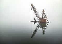 Sunken Crane (Nathan J Hammonds) Tags: long exposre fine art misty kent rochester cliff pools marshes crane sunken nikon d750 irex 15mm minimal reflection reflecting history water mist calm industry