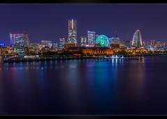 Yokohama Bay (Mikedie1) Tags: 日本 横浜 みなと未来 夜 スカイライン japan yokohama night minatomirai skyline skyscraper bay longexposure canon eos 600d