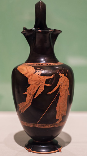 Athenian Red Figure oinochoe with Nike crowning a victorious youth