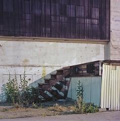 Steps (ADMurr) Tags: la eastside industrial dock night steps shadows windows rolleiflex f 28 kodak ektar 80mm zeiss planar cbc662