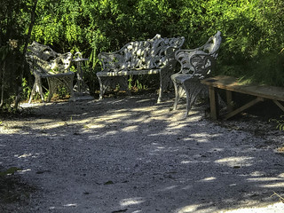 Benches in Spanish Point, Osprey, Florida