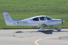 N111DU - 2008 build Cirrus SR22 GTSx G3 Turbo, taxiing for departure on Runway 24 at Friedrichshafen during Aero 2018 (egcc) Tags: 3138 aero aerofriedrichshafen aerofriedrichshafen2018 bodensee cirrus cirrusdesign derjo edny fdh friedrichshafen g3 gtsx generationthree lightroom n111du n229cp sr22 turbo